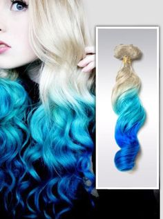 Lagoon Blue Ombre Hair Extensions,POLYNESIAN Beach Style,Blonde Blue Dip Dyed Hair Extensions,Trending Blue bundles hair weft one set by OmbreHairCustomed on Etsy Best Ombre Hair, Ombre Hair Color, Blonde Ombre, Hair Colors, Blue Dip Dye Hair, Dyed Hair Pastel, Blue Hair, Blonde Dip Dye, Violet Hair