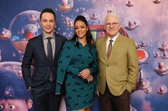 Singer Rihanna poses with her 'Home' costars Steve Martin and Jim Parsons during an NYC promotional event for the film on Sunday, March 15.