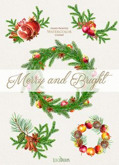 Merry And Bright. Watercolor Bouquets and Wreaths, Christmas decoration, Hand painted clipart, New year, Happy holidays, Greeting card