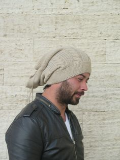 003a4f97578 Items similar to Knit Hat- Womens cable knit - Men - Winter Hat - Mens  Slouchy Hat - Man