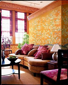 Bold color and pattern from Griffin & Wong create a beautiful accent wall in this loft space.