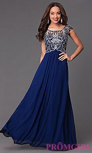 Buy Floor Length Cap Sleeve Prom Dress 7122 at PromGirl