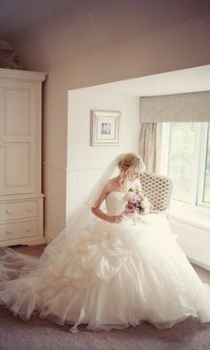 A beautiful, dusky pink and purple fairytale wedding in an English barn featuring a bride wearing an Ian Stuart wedding dress and photos by Katy Lunsford. Princess Style Wedding Dresses, Dream Wedding Dresses, Bridal Dresses, Wedding Gowns, Flower Girl Dresses, Princess Dresses, Tulle Wedding, Wedding Ceremony, Wedding Styles