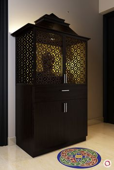 Puja Room Designs with Mesmerising Jaali Panels Pooja Room Door Design, Door Design Interior, Home Room Design, Room Interior, Interior Design Living Room, House Design, Apartment Interior, Design Kitchen, Wall Design
