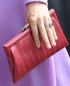 Anya Hindmarch red lizard skin clutch bag