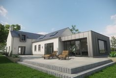 White render with zinc Contrast and window pods Bungalow Extensions, House Extensions, Cottage Exterior, Dream House Exterior, Bungalow Exterior, House Designs Ireland, Bungalow Renovation, Rural House, Bungalow House Design