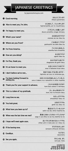 Infographic: how to greet people in Japanese.