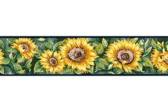 Floral Borders : Navy Blue Sunflower Wallpaper Border