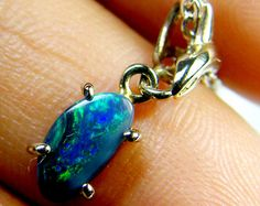 GREEN FIRE BLACK OPAL PENDANT 18K WHITE GOLD 0.7CTS SCA1903