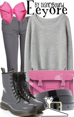 I ♥ ♥ ♥ this Eeyore from Winnie-the-Pooh Disneybound!! The various shades of gray pair perfectly with the pops of pink!! ♥