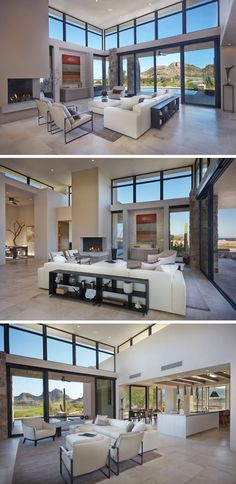 The design of this modern living room is arranged to take advantage of the temperate climate and the abundance of natural light. #LivingRoom #Fireplace #Windows