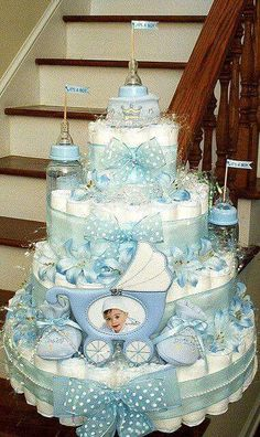 42 Trendy Baby Shower Decorations Ideas For Boys Diaper Cakes Baby Cakes, Baby Shower Cakes, Deco Baby Shower, Bebe Shower, Baby Shower Diapers, Baby Shower Parties, Baby Shower Themes, Baby Boy Shower, Baby Shower Gifts