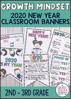 Use these growth mindset banners to create goals for 2020! Start the 2020 New Year thinking about growth and setting strong goals with your students!