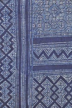 A wax resist indigo hemp-cloth ~ A tradition in Laos | This batik practice is old and traditional to the Blue Hmong hill tribe of the northern province of Laos | Clothroads