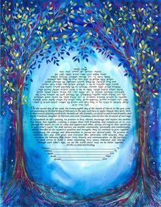 Ketubah Blue Forest by Judith Joseph