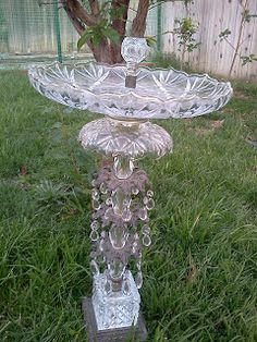 OC Garden Jen: Old Lamp + Tiered Server = New Bird Bath