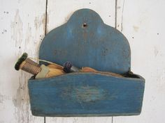 19th Century Old DRY BLUE PAINT Wood Hanging Candle Wall Box SIGNED Americana