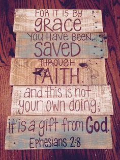 Wood Pallet Projects Wood pallet art- wall decor- Ephesians by grace- through faith- saves - Wood Pallet Art, Pallet Crafts, Diy Pallet Projects, Wood Art, Wood Crafts, Wood Projects, Pallet Ideas, Pallet Boards, Pallet Painting