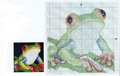 Mr. Frogs 1/2 Cross Stitch Charts, Cross Stitch Patterns, Cross Stitching, Cross Stitch Embroidery, Tapestry Crochet Patterns, Weaving Projects, Cross Stitch Animals, Bead Weaving, Making Ideas