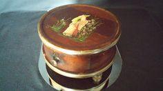 Round Wooden  Jewelry Casket Trinket Box by frankiesfrontdoor, $115.00