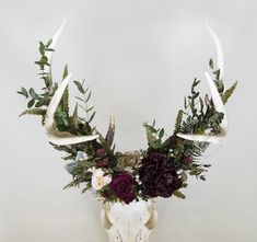 View images of past designs in the Flora & Fauna series by Meghan LaCroix Deer Horns Decor, Deer Skull Decor, Deer Skulls, Deer Antler Crafts, Antler Art, Painted Antlers, Native American Decor, Flowers For Sale, Skull Painting
