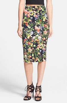 GLAMOROUS Floral Scuba Midi Skirt available at #Nordstrom