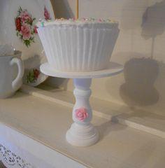 Shabby White Chic pink rose mini wood  by Pinkrosecottage on Etsy, $5.00