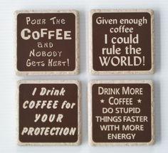 COFFEE COASTER SET of 4 Designs  Ceramic by ThreeDamesDreamin