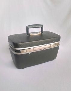 Vintage Train Case, Samsonite Luggage, Royal Traveller, Dark Grey Cosmetic Case…