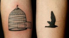 The bird is disproportionate to the cage, but I like the idea of the open cage and a bird flying out. Hair Tattoos, Animals Of The World, Bird Flying, Cage, Tattoo Ideas, Style, Fashion, Tattoos, Swag