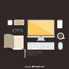 Flat vector illustration designer kit concept Free Vector