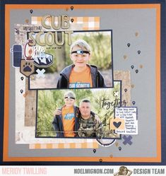 It's Meridy here today, and I am excited to share a Cub Scout layout with you. The colors in this month's kit and those two tone Thic. 12x12 Scrapbook, Apple Crisp, Cub Scouts, Campsite, Cubs, Layout, Kit, Classic, Colors