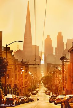 View From Russian Hill Of Skyline At Sunrise, San Francisco By Mitchell Funk www.mitchellfunk.com