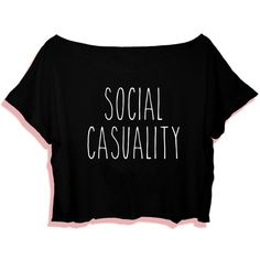 Social Casuality T-Shirt Crop Tee Tumblr T-Shirt S M L Xl 2xl White... ($12) ❤ liked on Polyvore featuring tops, t-shirts, shirts, crop tops, tees, white, women's clothing, white shirt, black t shirt and t shirts