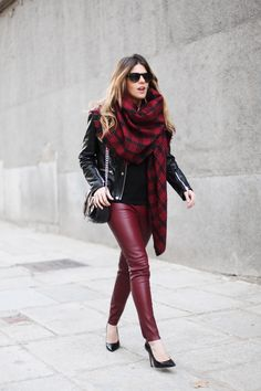 Street Style | Plaid Scarf, Burgundy and Black Leather