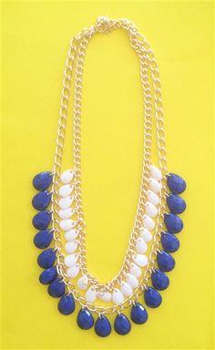Dropping Tears in Blue #teardrops #blue #white #makeastatement #statementpiece #unique #fun #pretty www.Shoplaurennicole.com
