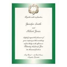 This beautiful and elegant design, called Celtic Hearts on Green Gradient Wedding, has a beautiful emerald green gradient background. At the top are two gold celtic hearts entwined. This would be perfect for your Celtic or Irish wedding or event! #Celtic #Wedding #Invitations
