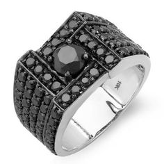 $999, 4.50 Carat (ctw) 10k #White Gold Round Black Diamond #Mens Ring, Treat yourself, You deserve it.