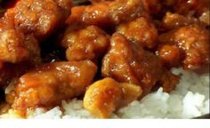 General Tso's Chicken ---------  crispy fried chicken breast chunks in a sweet and spicy sauce.  Serve over rice.