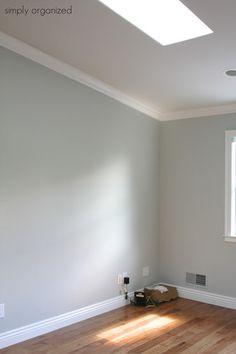 benjamin moore - sleigh bells walls, trim: swiss coffee Simply Organized Home Office - with Martha Stewart - simply organized