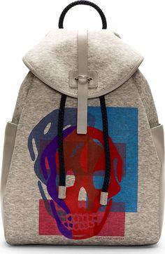 Alexander McQueen Heather Grey Skull Print Backpack