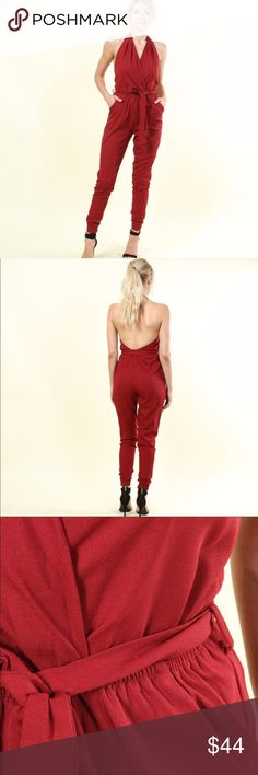 🍁Halter Jumpsuit NWT. Color is cranberry. 97% Poly, 3% Spandex. Very comfortable, sexy snd great for the holidays or any occasion. Fair offers ok. Pants Jumpsuits & Rompers