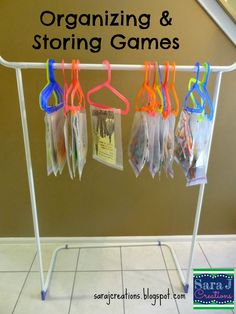 Great idea for storing flat games and activities in the classroom. Also works at home to store busy bags.