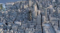 The City of London 3D Model by Vertex Modelling. Swiss Re building (Gherkin) is modeled to LOD4, rest of the render is LOD3.