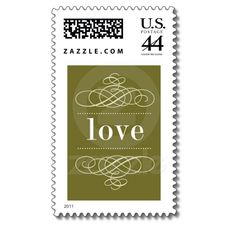 love - One word says it all.  Traditional charm and elegance for wedding invitation postage from The Knot.
