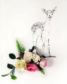 deer and Flower Photograph No. 88228 por kariherer en Etsy, $30.00