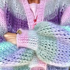 This is a unique handmade MYPZ pastel mohair cardigan. This beautiful cardigan is made of a high quality fine brushed mohair and does not pill. Knitwear Fashion, Knit Fashion, Sweater Fashion, Mohair Cardigan, Chunky Knit Cardigan, Knitting Machine Patterns, Crochet Patterns, Vogue Knitting, Baby Knitting