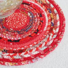 Red Hot Round Coiled Mat / Trivet / Hot Pad / by PrairieThreads, $12.00