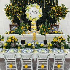 Lemons in Sisley Venture, set up and design Catering Lemon cookies Desert… Italian Bridal Showers, Lemon Centerpieces, Lemon Party, Orange Party, 40th Birthday Parties, Mom Birthday, Indoor Playground, Lemon Cookies, Baby Shower Themes