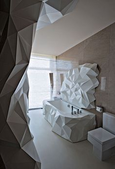 Whilst your bathroom may be one of the smallest rooms in your home there's no reason why it can't also be one of the most interesting too. So here we give a quick guide to some unique bathroom design ideas to inspire … Origami Architecture, Interior Architecture, Interior And Exterior, Chinese Architecture, Futuristic Architecture, Beautiful Bathrooms, Modern Bathroom, Funky Bathroom, Bathroom Black
